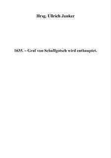 1635. – Graf von Schaffgotsch wird enthauptet [Dokument elektroniczny]