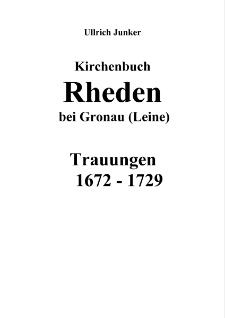Kirchenbuch Rheden bei Gronau (Leine) : Trauungen 1672-1729 [Dokument elektroniczny]