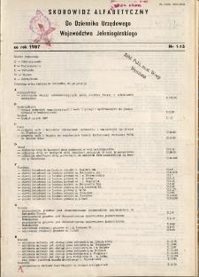 Skorowidz alfabetyczny do Dziennika Urzędowego Województwa Jeleniogórskiego za rok 1987, nr 1-15