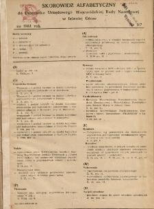 Skorowidz alfabetyczny do Dziennika Urzędowego Województwa Jeleniogórskiego za rok 1981, nr 1-7