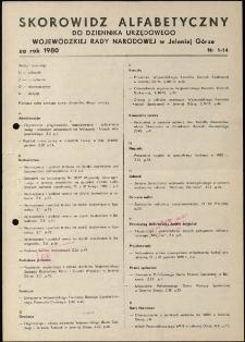 Skorowidz alfabetyczny do Dziennika Urzędowego Województwa Jeleniogórskiego za rok 1980, nr 1-14