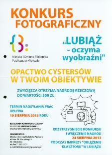 Plakat informujący o konkursie fotograficznym Lubiąż - oczyma wyobraźni [Dokument życia społecznego]