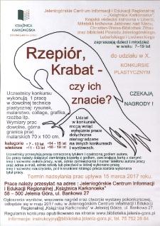 Rzepiór, Krabat - czy ich znacie? : [X. konkurs plastyczny] [Dokument życia społecznego]