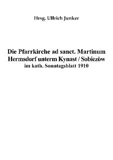 Die Pfarrkirche ad sanct. Martinum Hermsdorf unterm Kynast / Sobieszów im kath. Sonntagsblatt 1910 [Dokument elektroniczny]