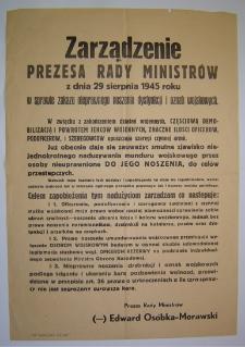 Zarządzenie Prezesa Rady Ministrów z dnia 29 sierpnia 1945 roku w sprawie zakazu nieprawnego noszenia dystynkcji i oznak wojskowych [Dokument życia społecznego]