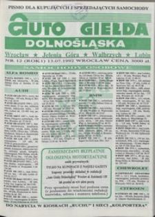 Auto Giełda Dolnośląska : pismo dla kupujących i sprzedających samochody, R. 1, 1992, nr 12 (13.07.1992 r.)