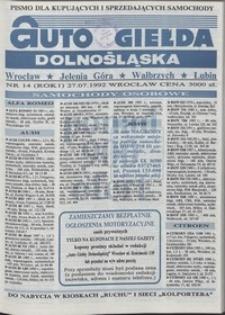 Auto Giełda Dolnośląska : pismo dla kupujących i sprzedających samochody, R. 1, 1992, nr 14 (27.07.1992 r.)