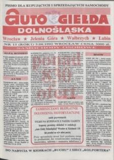 Auto Giełda Dolnośląska : pismo dla kupujących i sprzedających samochody, R. 1, 1992, nr 15 (3.08.1992 r.)