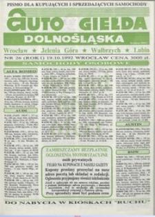 Auto Giełda Dolnośląska : pismo dla kupujących i sprzedających samochody, R. 1, 1992, nr 26 (19.10.1992 r.)