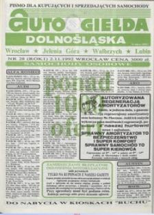Auto Giełda Dolnośląska : pismo dla kupujących i sprzedających samochody, R. 1, 1992, nr 28 (2.11.1992 r.)
