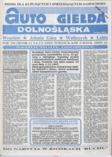 Auto Giełda Dolnośląska : pismo dla kupujących i sprzedających samochody, R. 1, 1992, nr 34 (14.12.1992 r.)