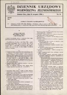 Dziennik Urzędowy Województwa Jeleniogórskiego, 1996, nr 31