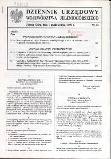 Dziennik Urzędowy Województwa Jeleniogórskiego, 1996, nr 43