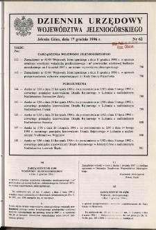 Dziennik Urzędowy Województwa Jeleniogórskiego, 1996, nr 62