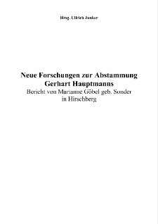 Neue Forschungen zur Abstammung Gerhart Hauptmanns [Dokument elektroniczny]