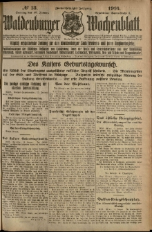 Waldenburger Wochenblatt, Jg. 62, 1916, nr 13