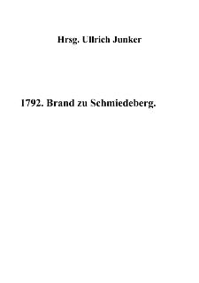 1792. Brand zu Schmiedeberg [Dokument elektroniczny]