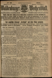 Waldenburger Wochenblatt, Jg. 62, 1916, nr 39