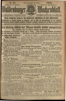 Waldenburger Wochenblatt, Jg. 62, 1916, nr 47