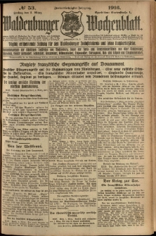 Waldenburger Wochenblatt, Jg. 62, 1916, nr 53