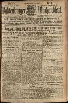 Waldenburger Wochenblatt, Jg. 62, 1916, nr 54