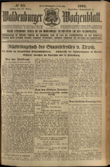 Waldenburger Wochenblatt, Jg. 62, 1916, nr 65