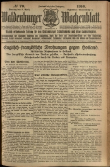 Waldenburger Wochenblatt, Jg. 62, 1916, nr 79