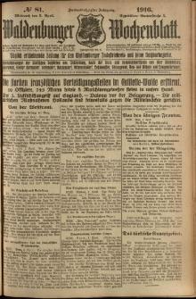 Waldenburger Wochenblatt, Jg. 62, 1916, nr 81