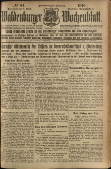 Waldenburger Wochenblatt, Jg. 62, 1916, nr 84