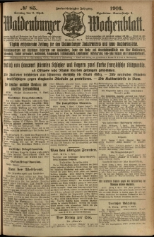 Waldenburger Wochenblatt, Jg. 62, 1916, nr 85