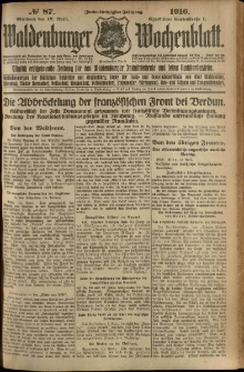 Waldenburger Wochenblatt, Jg. 62, 1916, nr 87