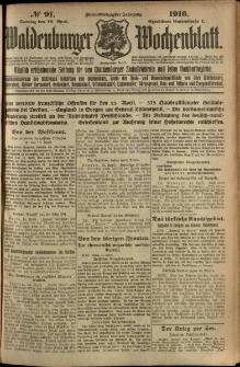 Waldenburger Wochenblatt, Jg. 62, 1916, nr 91