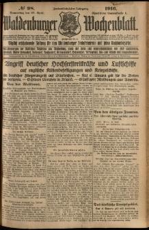 Waldenburger Wochenblatt, Jg. 62, 1916, nr 98