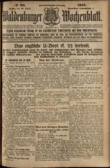 Waldenburger Wochenblatt, Jg. 62, 1916, nr 99