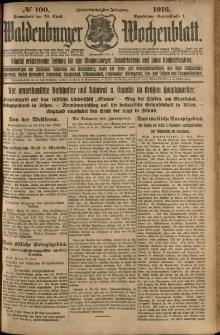 Waldenburger Wochenblatt, Jg. 62, 1916, nr 100