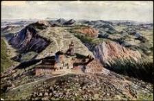 Karkonosze - widok wierzchołka Śnieżki z lotu ptaka wg. obrazu  Ruep`a  [Dokument ikonograficzny]