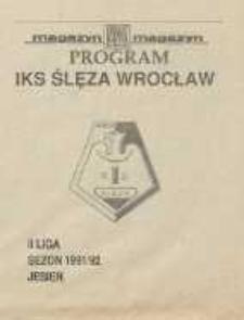 Program - IKS Ślęza Wrocław, II Liga, sezon 1991/1992 jesień, dodatek do Magazynu Dziennika Dolnośląskiego