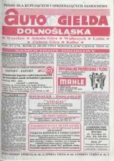 Auto Giełda Dolnośląska : pismo dla kupujących i sprzedających samochody, R. 2, 1993, nr 37 (74) [20.09]