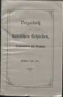 Verzeichnis der Städtischen Behörden, Deputationen und Beamten