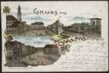 Gruss aus Ohlau - Ringansicht, Bahnhof, Breslauerstrasse mit Ring [Dokument ikonograficzny]