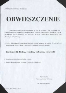 Państwowa Komisja Wyborcza. Obwieszczenie o wyborach uzupełniających do Senatu 2003 r.