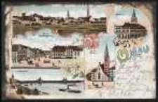 Gruss aus Ohlau - Ring mit Breslauerstrasse, Oderbrücke, Evang. Kirche, Rathhaus [Dokument ikonograficzny]
