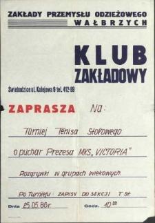 """Klub zakładowy zaprasza na Turniej Tenisa Stołowego o puchar Prezesa MKS """"VICTORIA"""""""