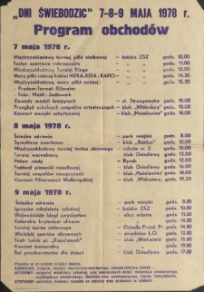 Dni Świebodzic 7-8-9 maja 1978 r. Program obchodów