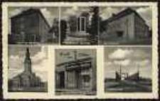 Gruss aus Ohlau – Artillerie-Kaserne, Gefallen-Denkmal, Gymnasium, Rathaus, Breslauerstrasse (Konditorei u. Kaffee), Oderbrücke [Dokument ikonograficzny]
