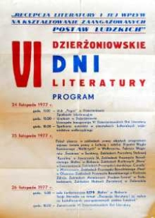 VI Dzierżoniowskie Dni Literatury : program