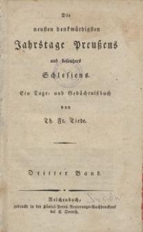 Die neusten ben benkwurrdigsten Jahrstage preusens und besonders Schlesiens. Bd. 3