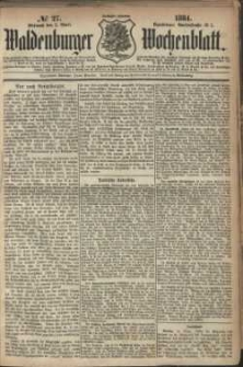Waldenburger Wochenblatt, Jg. 30, 1884, nr 27