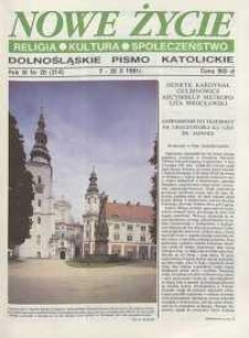 Nowe Życie: dolnośląskie pismo katolickie: religia, kultura, społeczeństwo, 1991, nr 20 (214)