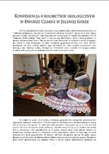 Konferencja o rolnictwie ekologicznym w Dworze Czarne w Jeleniej Górze [Dokument elektroniczny]